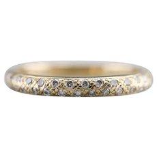 Textured 14 Karat Gold Diamond Band