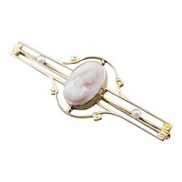 Art Nouveau Pink Cameo Seed Pearl Brooch