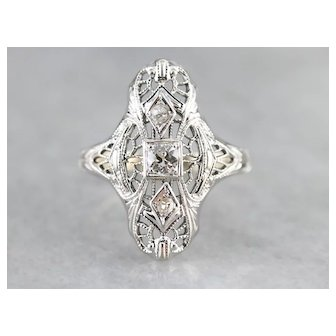 Art Deco Old Mine Diamond Dinner Ring