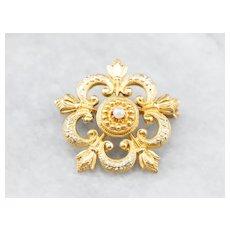 Enamel Art Nouveau Seed Pearl Honeymoon Brooch