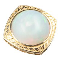 Vintage 14 Karat Gold and Opal Statement Pendant