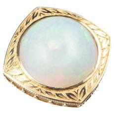 Vintage 14 Karat Gold and Opal Statement Pendant