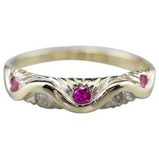 Vintage Synthetic Ruby Diamond Band