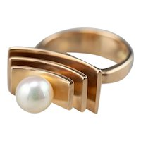 Modernist Cultured Pearl Statement Ring