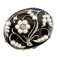 Antique Floral Cultured Seed Pearl and Diamond Brooch