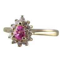 Vintage Pink Sapphire Diamond Halo Ring