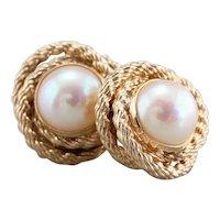 Rope Twist Cultured Pearl Stud Earrings