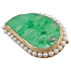 Carved Jade Cabochon Diamond and Cultured Pearl Leaf Brooch