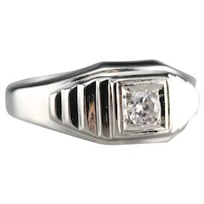 Vintage Men's Diamond Solitaire Ring