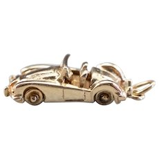Vintage Moving Sports Car Charm with Diamond Headlights