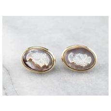 Vintage Abalone Shell Cameo Earrings