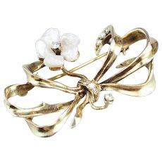 Retro Floral Diamond Bow Brooch