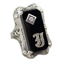 "Art Deco Black Onyx and Diamond ""J"" Initial Ring"