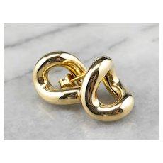 Sculptural Yellow 18 Karat Gold Stud Earrings