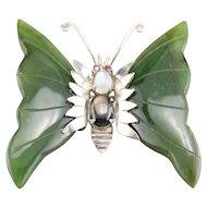 Vintage Gemstone Butterfly Brooch