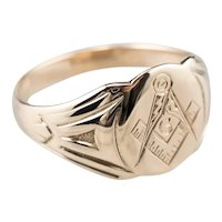 10K Engraved Masonic Men's Ring