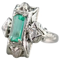 Upcycled Deco Emerald and Diamond Dinner Ring