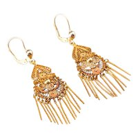 Vintage Floral Filigree Drop Earrings