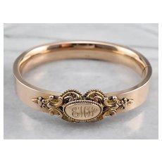 "Victorian Monogram ""EMW"" Bangle Bracelet"