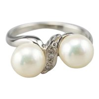 Retro Era Cultured Pearl and Diamond Bypass Ring