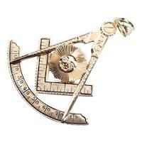 Antique 14 Karat Gold Masonic Compass Pendant