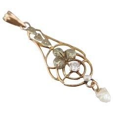Art Nouveau Diamond Lavalier Pendant