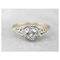 Diamond Filigree Two Tone Engagement Ring