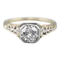 Diamond Filigree Two Tone Engagement Ring