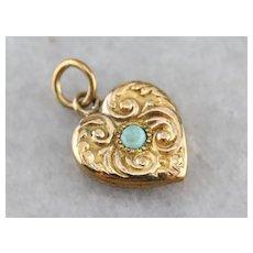 Antique Gold Fill Opal Heart Charm Pendant