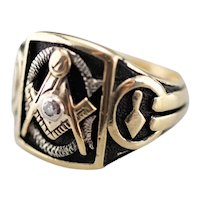 Men's Bold Diamond Masonic Ring