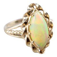 Twisting Marquise Opal Ring