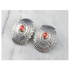 Native American Red Coral Statement Earrings