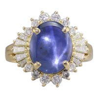 Mid Century Star Sapphire and Diamond Cocktail Ring