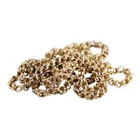 Long Antique Chain from the Late Victorian Period, 14K Gold