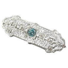 Fine Filigree Blue Zircon and Diamond Brooch