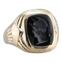 Handsome Men's Black Onyx Intaglio Ring, Centurion or Legionnaire