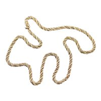Thick Two Tone 14 Karat Gold Twist Chain Necklace