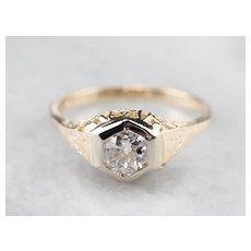 European Cut Diamond Engagement Ring