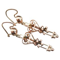Lovely Upcycled Scrolling Hearts Drop Earrings