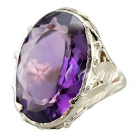 Large Botanical Amethyst Cocktail Ring