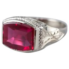 Art Deco Synthetic Ruby Statement Ring