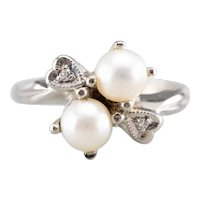 Romantic Cultured Pearl and Diamond Retro Era Bypass Ring