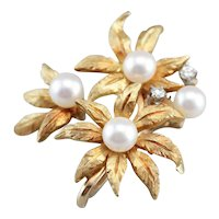 Vintage Floral Cultured Pearl Scarf Clip Pendant