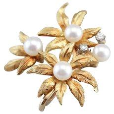 Vintage Floral Cultured Pearl Scarf Clip Pendant