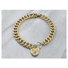 Victorian Chased Heart Lock Chain Bracelet
