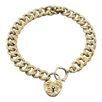 Victorian Chased Heart Lock Chain Bracelet