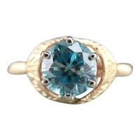 Etched Blue Zircon Solitaire Ring