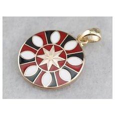 Vintage Enamel Mandala Pendant