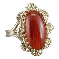 Vintage Filigree Carnelian Cabochon Ring