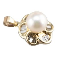 Floral Cultured Pearl and Diamond Pendant